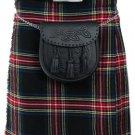 32 Size Tartan Kilt, Mens Black Stewart 5 Yard Acrylic Scottish Tartan Kilt