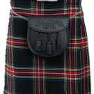 52 Size Tartan Kilt, Mens Black Stewart 5 Yard Acrylic Scottish Tartan Kilt