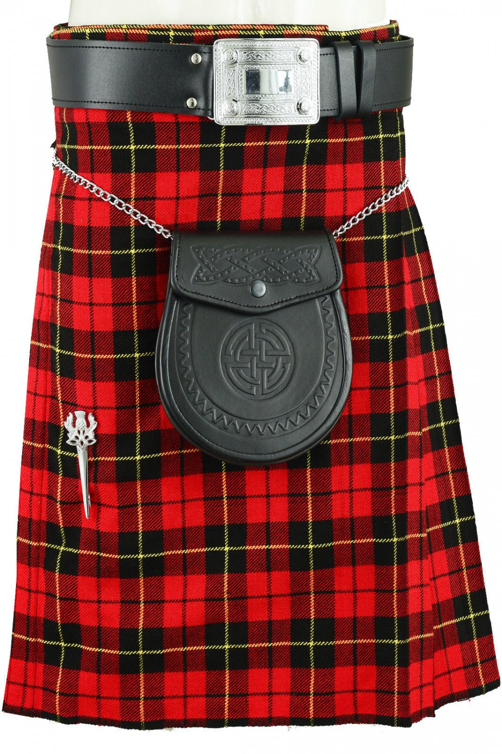 New Traditional Wallace Tartan Kilt of Size 32, Scottish Highland Utility and Sports Kilt