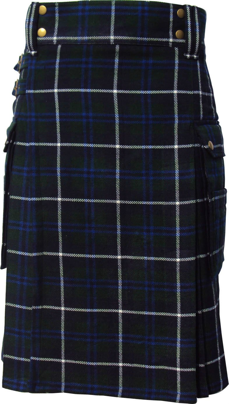 46 Size Scottish Highland Wears Active Men Modern Pocket Douglas Blue Tartan Prime Kilts