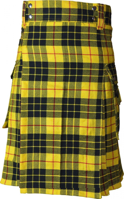 30 Size Active Men Mcleod of Lewis Tartan Modern Pockets Utility Tartan Kilt