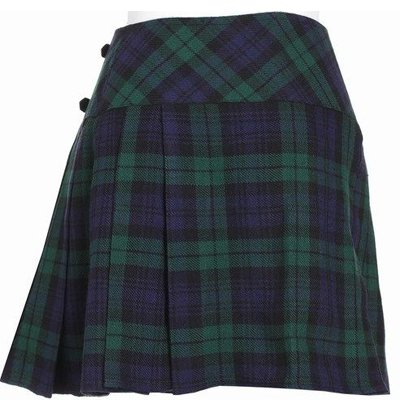 32 Size New Ladies Black Watch Tartan Scottish Mini Billie Kilt Mod Skirt