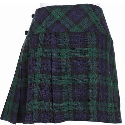 42 Size New Ladies Black Watch Tartan Scottish Mini Billie Kilt Mod Skirt