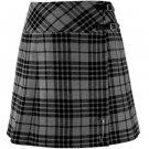 26 Size New Ladies Grey Watch Tartan Scottish Mini Billie Kilt Mod Skirt