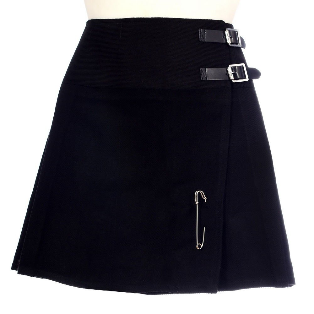44 Size New Ladies Plain Black Tartan Scottish Mini Billie Kilt Mod Skirt