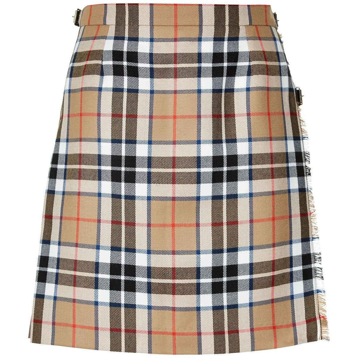 46 Waist New Camel Thompson Ladies Billie Pleated Kilt Knee Length Skirt in Camel Thompson Tartan