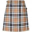 54 Waist New Camel Thompson Ladies Billie Pleated Kilt Knee Length Skirt in Camel Thompson Tartan