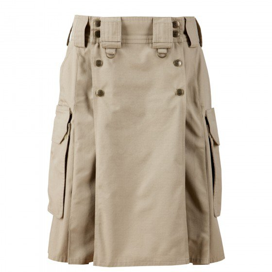 48 Size Modern Pockets Khaki Tactical Style Kilt, Traditional Tactical Duty Utility Cotton Kilt