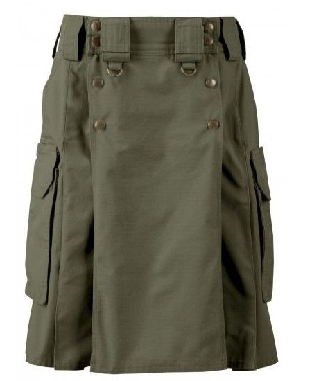 52 Size Cargo Pockets Olive Green Tactical Style Kilt, Traditional Tactical Duty Utility Cotton Kilt
