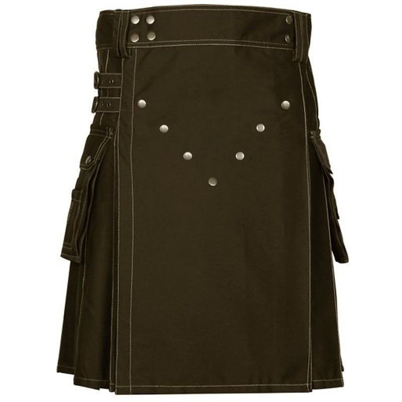 "60"" Size Scottish Choco Brown Utility Kilt, Modern Unisex Cotton Kilt Highland Cargo Pockets Kilt"
