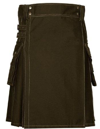 58 Size Scottish Choco Brown Utility Kilt, Modern Unisex Cotton Kilt Highland Cargo Pockets Kilt