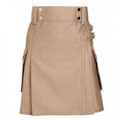56 Size Scottish Active Men Khaki Kilt Traditional 100% Cotton Kilt