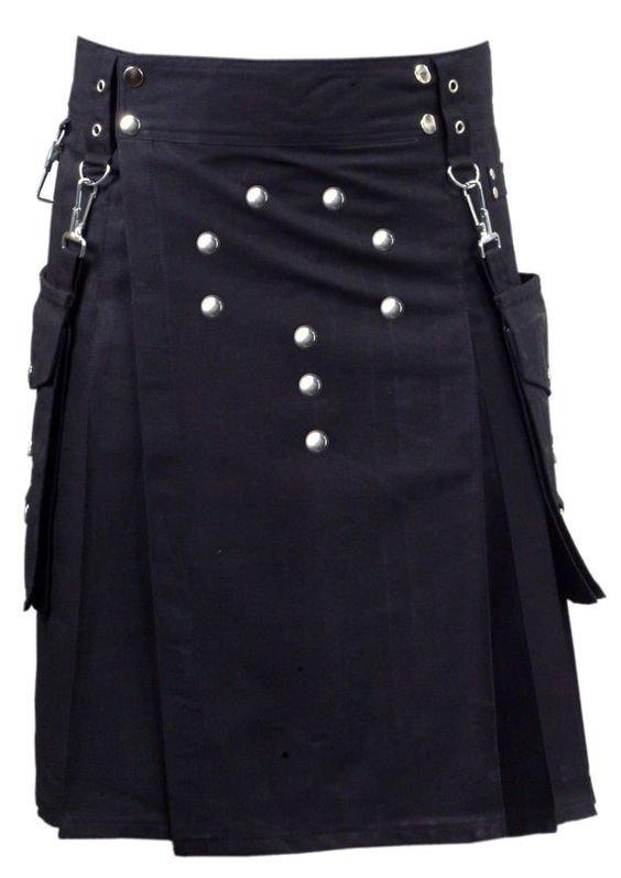 34 Waist Scottish/Gothic Active Men Cargo Pocket Front Buttons Cotton Utility Kilt For Men