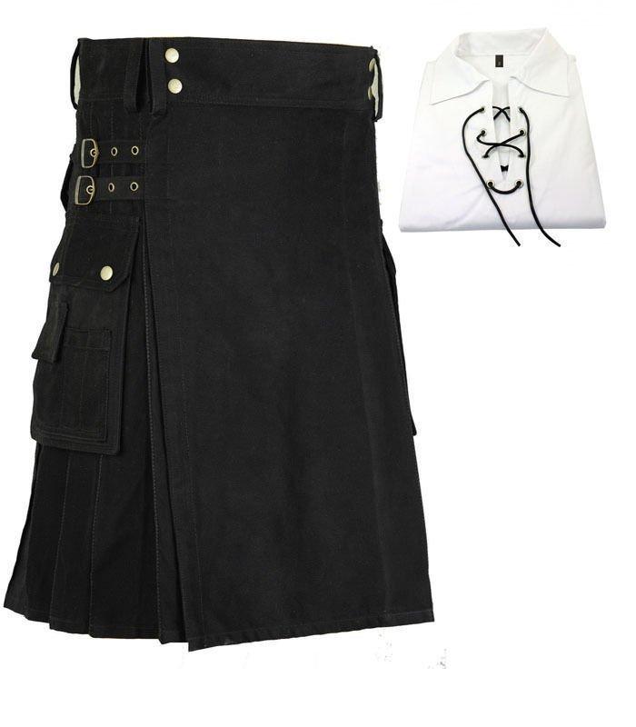 "32"" Waist Scottish/Gothic Active Men Black Utility kilt with shirt"