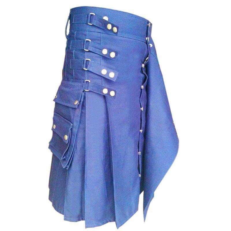 "56"" Size Gothic Style Fashion Blue Cotton Kilt for Active Men Gothic Wears"