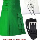 44 Size Gothic Green Brutal Grace Kilt for Active Men With White Jacobite Shirt & Belt
