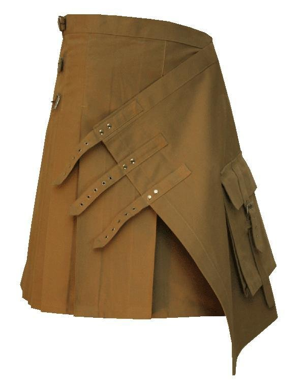44 Size Gothic Khaki Brutal Grace Kilt for Active Men