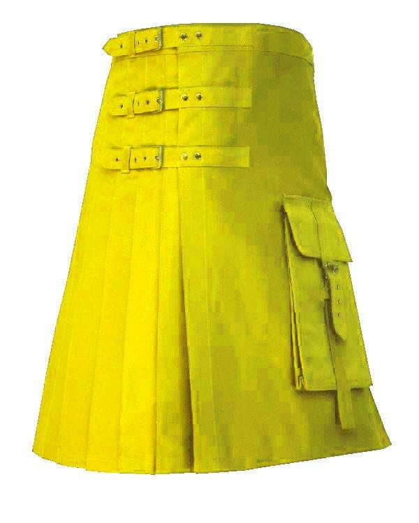 52 Size Gothic Deluxe Highlander Yellow Brutal Grace Kilt for Active Men