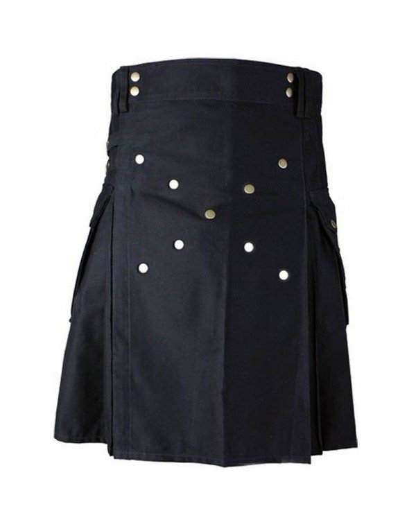 32 Size Black Cotton Kilt With Large Cargo Pockets Scottish Highlander Utility Kilt