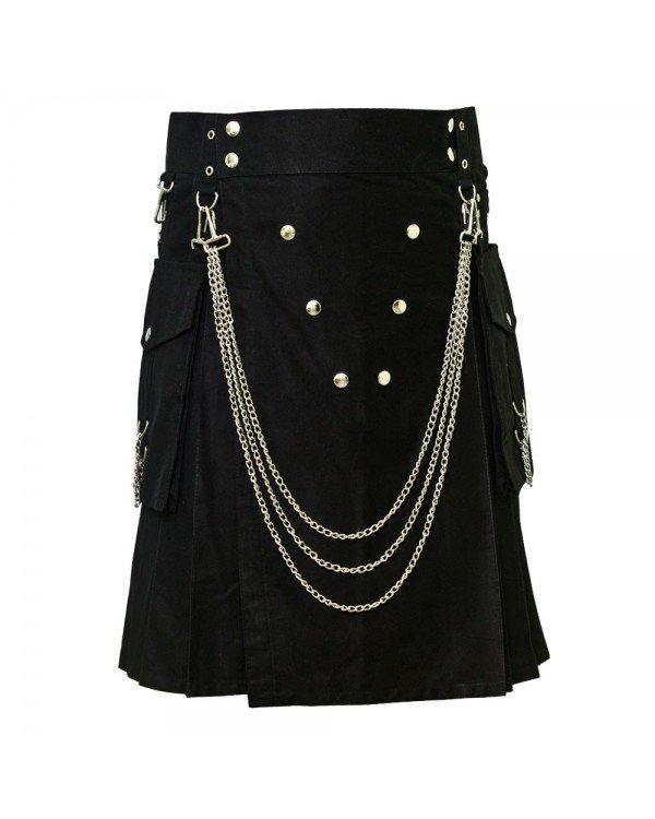Men's 46 Size Handmade Black Utility Kilt With Silver Chrome Chains