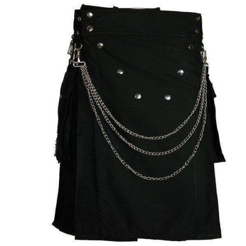 50 Size Men's Handmade Gothic Style Black Utility Cotton Kilt With Silver Chrome Chains