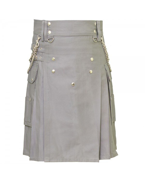 Handmade Gothic Style Grey Utility Cotton Kilt With Silver Chrome Chains 44 Size