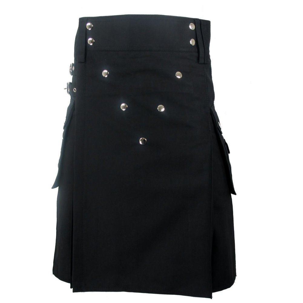 32 Size New Taichi Men's Deluxe Black Heavy 100% Cotton Utility Kilt Chrome Studs