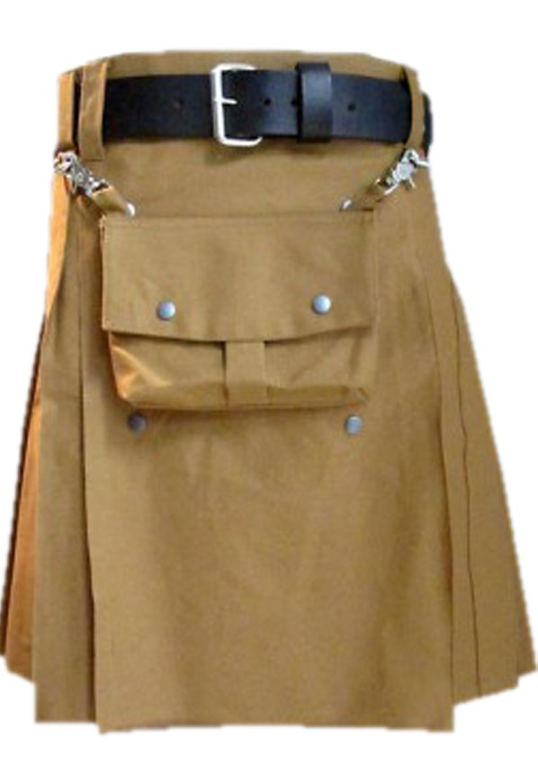 32 Size Khaki Cotton Utility Kilt With Front Cotton Sporran Tactical Duty Kilt