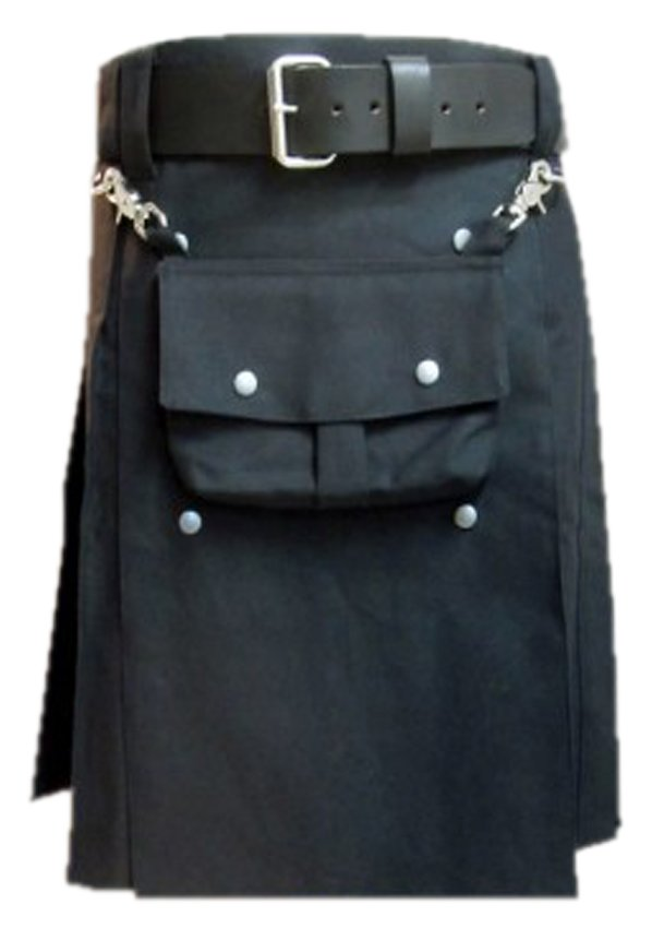 50 Waist Black Cotton Utility Kilt, Front Cotton Sporran Tactical Duty Kilt