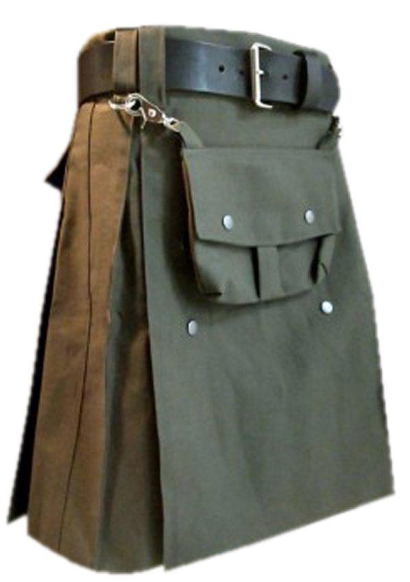 Olive Green Cotton Utility Kilt, 58 Size Front Cotton Sporran Tactical Duty Utility Kilt