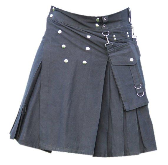 34 Size Men,s Scottish Highlander Black Gothic style Cotton Utility Kilt, Front Studs Cotton Kilt