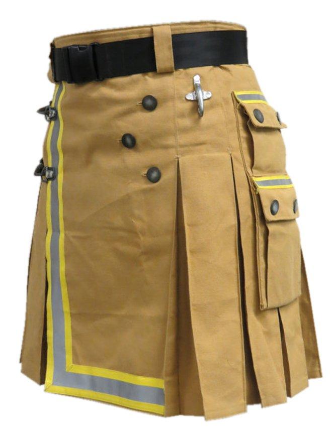 Size 60 New Custom Sizes Fireman Tactical Kilt Cotton Khaki Utility Duty Kilt