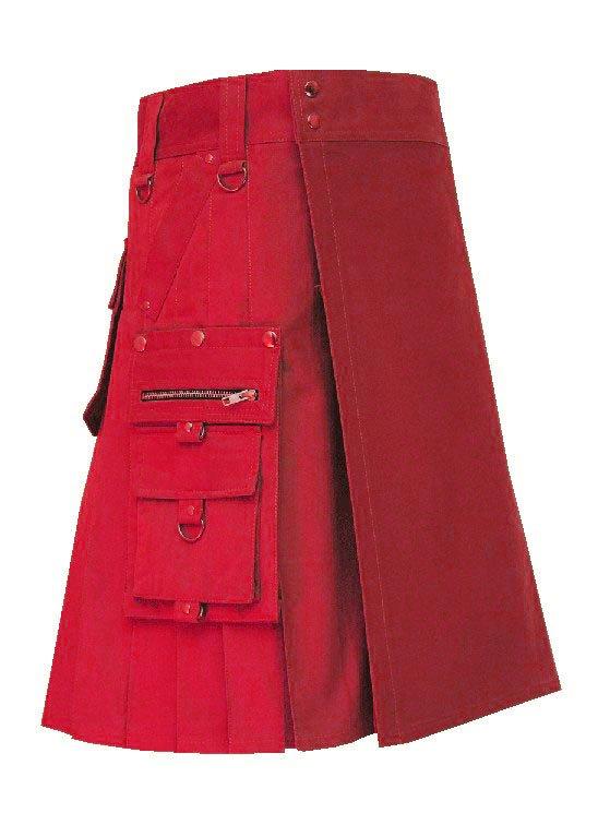 Men's 58 Size New Deluxe Scottish Cotton Gothic Khaki Fashion Utility kilt