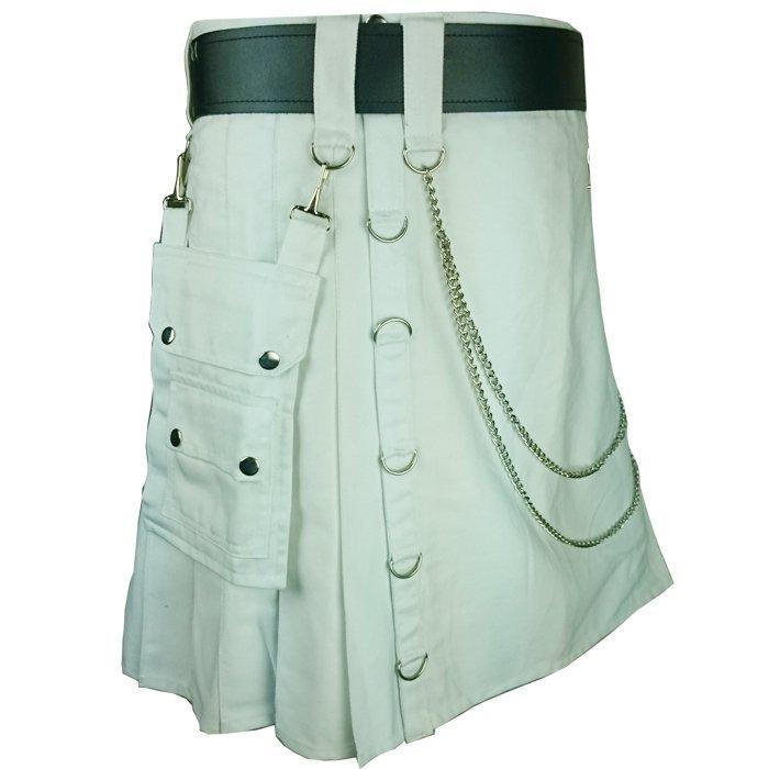 Olive Green Men's Handmade 30 Size Utility Cotton kilt With Chrome Chains