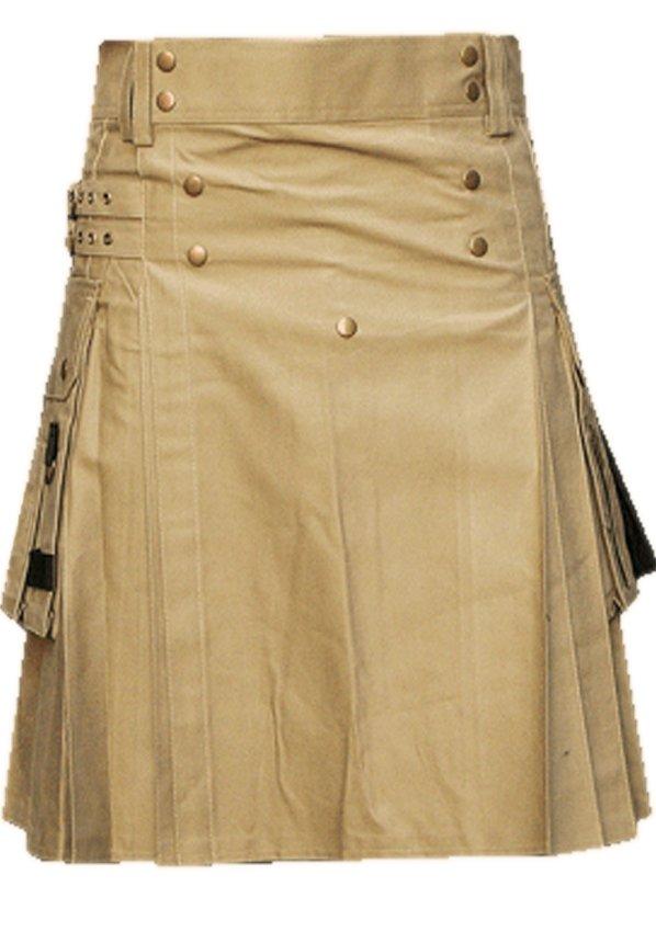 42 Waist Men's Handmade Khaki Front Brass Buttons Kilt, Cargo Pockets Men Khaki Utility Kilt