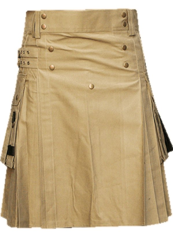 52 Waist Men's Handmade Khaki Front Brass Buttons Kilt, Cargo Pockets Men Khaki Utility Kilt