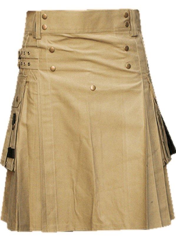 56 Waist Men's Handmade Khaki Front Brass Buttons Kilt, Cargo Pockets Men Khaki Utility Kilt