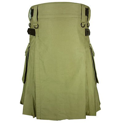 New Handmade Khaki Cotton Utility Kilt 48 Size Tactical Duty Kilt With Leather Straps