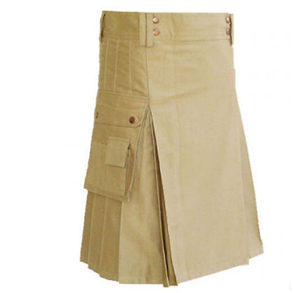 34 Size Handmade Men Classic Standard Khaki Kilt, Scouts Working Utility Kilt