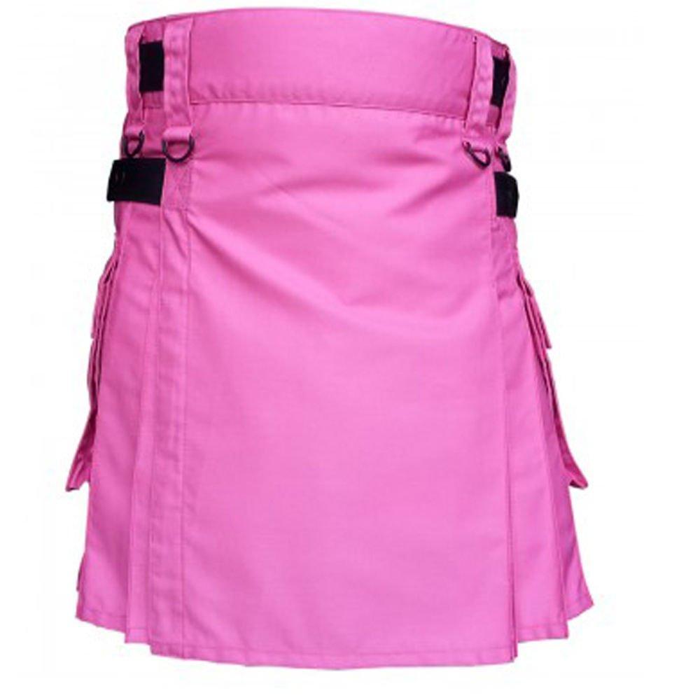 Waist 48 Scottish Tactical Deluxe Ladies Pink Cotton Kilt Skirt Style Cargo Pockets