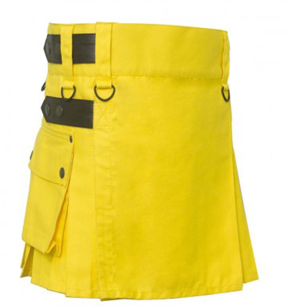 28 Size 100% Cotton Ladies Deluxe Yellow Cotton Kilt Skirt Style Cargo Pockets Kilt