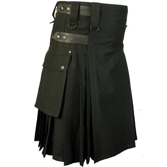 44 Size Tactical Duty Black Leather Straps Kilt, Handmade Black Cotton Utility Kilt