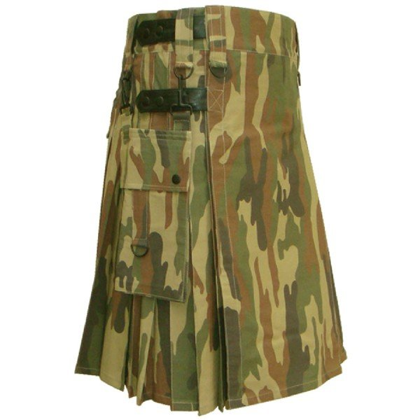 32 Size Taichi Army Camo Kilt With Size adjusting Leather Straps and Side Cargo Pockets