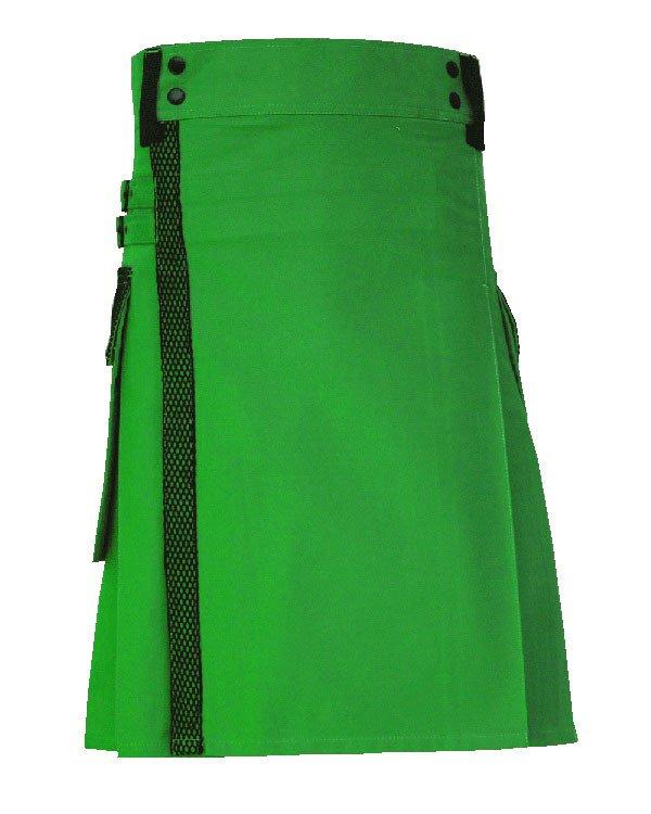 56 size Taichi Green Net Pocket Kilt for Active Men, Handmade Green Utility Deluxe Kilt