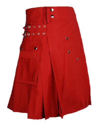 38 Size Taichi Modern Fashion Scarlet & Red cotton Kilt Handmade Utility Kilt
