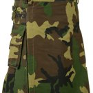 34 Size Men Handmade Digital Army Camo Kilt, Tactical Custom Camping Hiking Kilt
