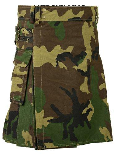 52 Size Men Handmade Digital Army Camo Kilt, Tactical Custom Camping Hiking Kilt
