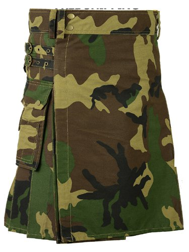58 Size Men Handmade Digital Army Camo Kilt, Tactical Custom Camping Hiking Kilt