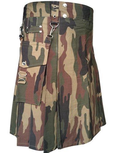 "32"" Men's TDK Handmade Detachable Pockets Camo Kilt, Camo Cotton Heavy Duty Utility Kilt for Men"