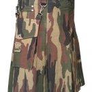 "54"" Men's TDK Handmade Detachable Pockets Camo Kilt, Camo Cotton Heavy Duty Utility Kilt for Men"